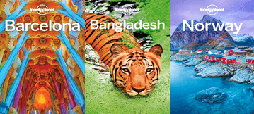 Book covers for Barcelona, Bangladesh, and Norway Lonely Planet series