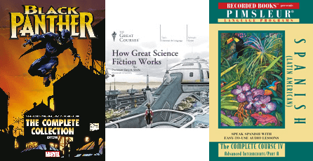 Book covers for Black Panther, How does Science Fiction Work Great Courses program, and Pimsleur Spanish course